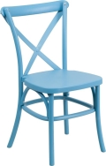 Where to rent CHAIR, CROSS BACK BLUE RESIN in Chicago IL
