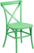 Where to rent CHAIR, CROSS BACK GREEN RESIN in Chicago IL
